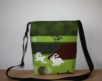 Bag shoulder bag Green with rabbit