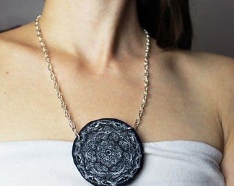 Mandala necklace, mandala pendant, felt pendant