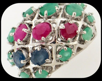 New Heavy 925 Sterling Silver Ruby Blue Sapphire & Emerald Cluster RING Size 8.5