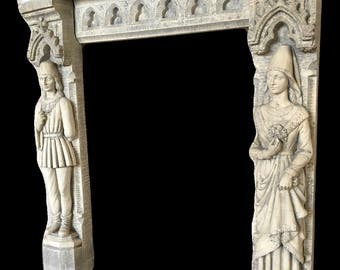 Antique European Gothic Fire Mantel with Large Statues #7609