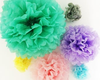 Paper pom poms hanging party decorations mix and match 5 sizes and 20 colours for birthday wedding baby shower backdrop centrepiece decor