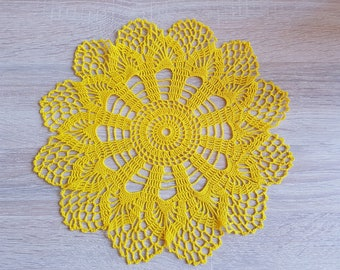 Crochet Round Yellow Doily Lace Doilies Thin Cotton Thread  Handmade in Lithuania home decor crochet coaster doily