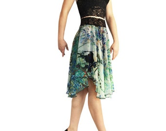 Blue-Green Splatter Chiffon Circle Tango Skirt