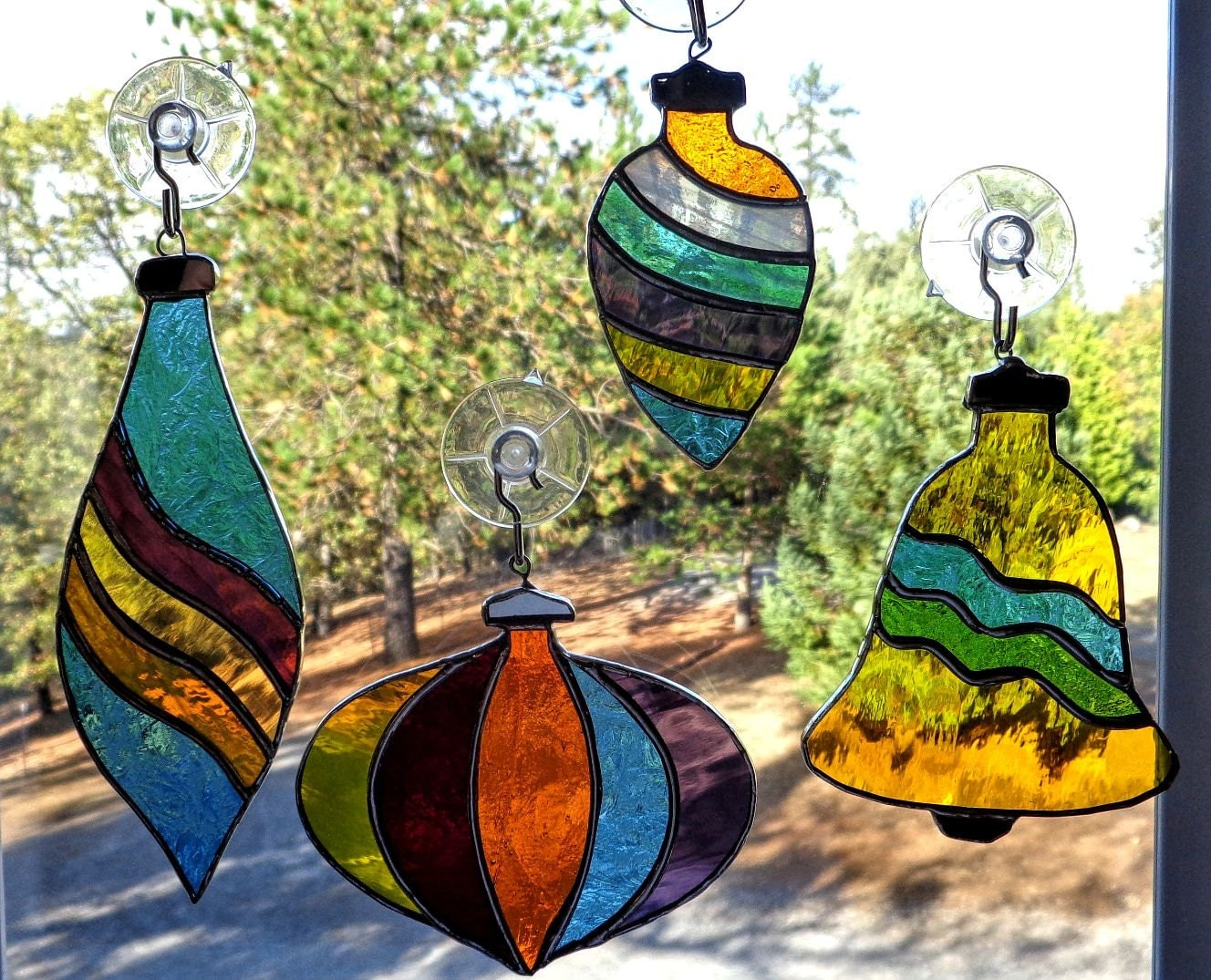 Stained glass christmas ornaments suncatchers set of