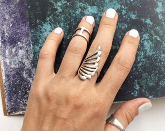 Wing ring sterling silver, silver ring wing, unique design ring, handmade ring, long ring, elegant ring, ring wing design, nice ring