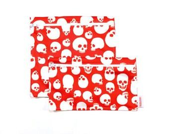 Sacs à sandwich et collation réutilisables - têtes de mort - Reusable bags - 1 snack bag 1 sandwich bag - skulls