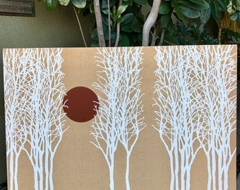 GORGEOUS 70's Sun in Trees Boho Fabric Panel Textile Marimekko Style