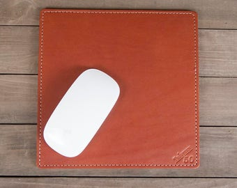 Chestnut Full Grain Leather Mouse Pad