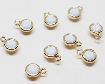 P0622/Anti-Tarnished Gold Plating Over Brass +CZ/June White Opal Birthstone Charm Pendant/4.2mm x 6mm (including a loop), 3mm CZ/2pcs