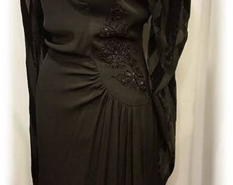 Amazingly Beautiful ~ 1940's ~ Beaded ~ Black on Black on Black ~ Evening Gown ~ Striking ~ Old Hollywood ~ Entertainer's Delight ~ Wow!