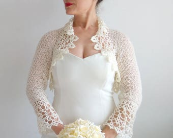 İvory bolero, crochet bolero shrug, bridal jacket, wedding cardigan, cream bolero, lace shrug, 3/4 sleeve bolero, cream shrug, fast shipping
