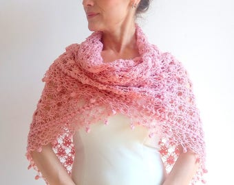 On sale, crochet pink shawl, dusty pink wrap, bridal shawl,lacy pink shawl, wedding wrap, gift for her, fast shipping, ready to ship
