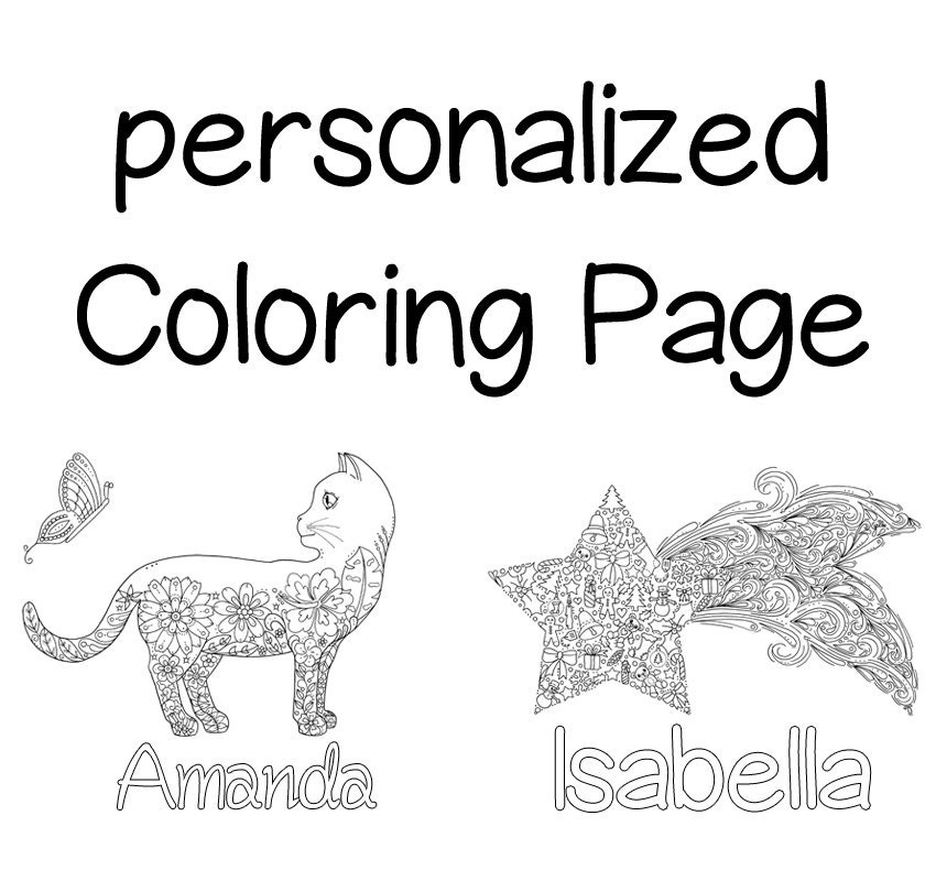 Personalized Coloring Page Gift Idea Printable Coloring Customized Coloring Pages