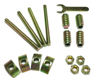 Wood Bed Rail Assembly Hardware Nuts, Bolts, Crescent Nuts & Allen Wrench - 17 Piece Set