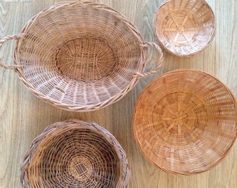 Woven Wicker Boho Basket Set