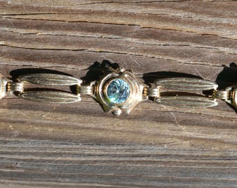 Vintage Blue Zircon Bracelet 10K Yellow Gold  6.5 Inches Long