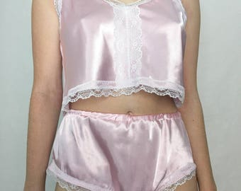 Silky Lingerie Set, Silky Camisole & French Knickers  (3 Colours) Pastel Lingerie, Pyjamas, Bridal Lingerie, Honeymoon Lingerie, DDLG, ABDL