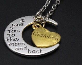 Mom Grandma Sister Aunt Personalized Stamped Necklace  I Love you to the Moon and Back