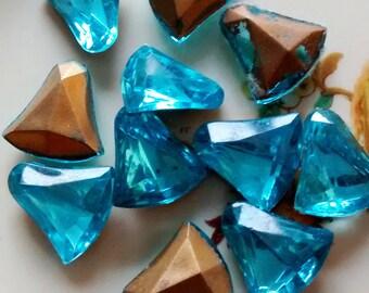 Turquoise Glass Rhinestones, Vintage Rhinestones, Set of Rhinetsones, Blue Rhinestones