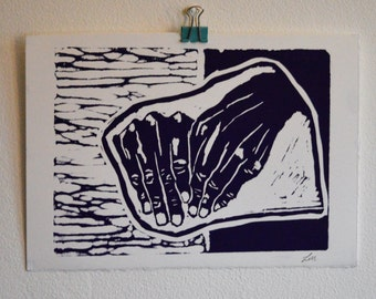 Purple Hand Lino Print