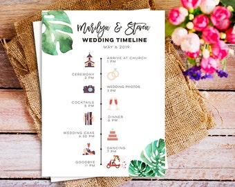 Tropical Wedding Party Schedule Timeline, printable wedding itinerary, wedding program timeline with icons, printable wedding timeline card