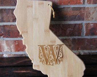 California Shaped Cutting Board - Personalized