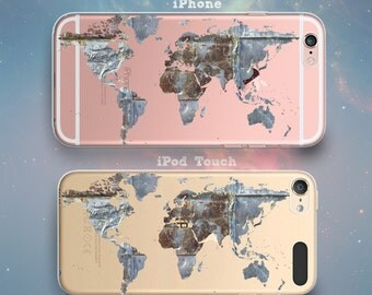 Vintage Metal Map of Earth America Europe Asia Africa Oceana Continents Cool Clear Rubber Case for iPhone 7 6s 6 Plus SE 5s 5 5c iPod Touch