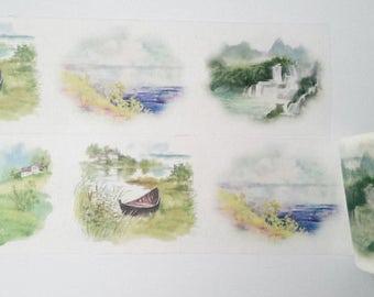 Design Washi tape nature Lake landscape