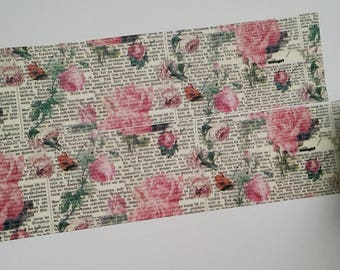 Washi tape roses vintage text