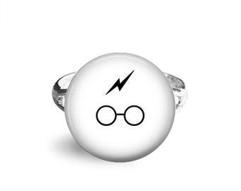 Harry Potter Ring, 12mm Adjustable Ring, Harry Potter Jewelry, Hogwarts Express, Platform 9 3/4, Geek Jewelry, Lightning Scar, JK Rowling