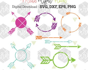 Monogram Arrows SVG design pack INSTANT DOWNLOAD vector files for cutting machines - svg, png, dxf, eps (monograms not included)
