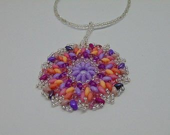 Knitted Look Silver and Pastels Hand Beaded Mendala Pendant