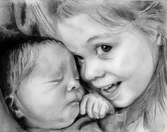 Custom Child Portrait from your photo/ Gifts for patents/ Photo-realism/ Hand-drawn graphite/ Drawing from photo/ Custom Drawing/ Photo art