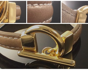 Bracelet leather color choice, White Leather lined, white pique, gold plated clasp