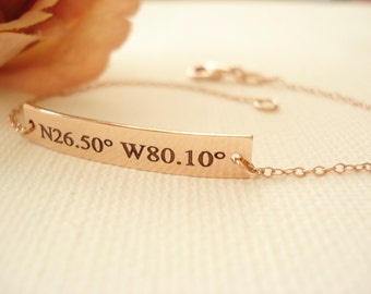 Rose gold-fill Personalized Bar Bracelet...engraved name plate gold bar jewelry, Sorority gift, monogram, bridesmaid gift