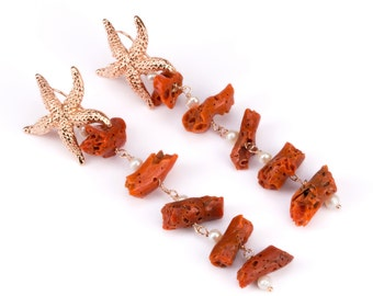 Starfish and Coral earrings