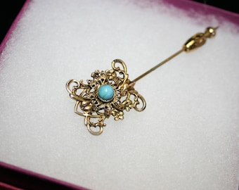 Gold tone filigree stick pin with faux turquoise and intricate detail; lapel pin; scarf pin; vintage pin