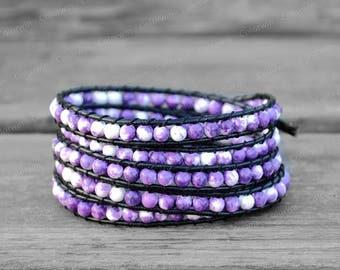 Leather Bracelet Wrap Bracelet Beaded Bracelet Leather Wrap Bracelet Beaded Bracelet Mother's Day Gift For Her