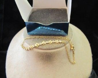 Vintage Signed Avon Rhinestone Floral Bracelet With Original Box