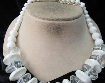 Vintage Chunky White & Clear Beaded Necklace