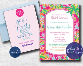 Invitation - Bridal Shower, Sweet 16, Graduation, Baby Shower, Birthday, etc.) Lilly Pulitzer Inspired Monogram Printable or Download