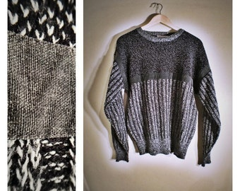 80s Michael Gerald black/gray Cosby style sweater