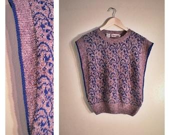 80s purple / blue silk Heidi sweater vest