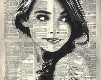 """Woman Portrait 2, 16x20"""" Original Ink/Watercolor Painting on Book Pages"""