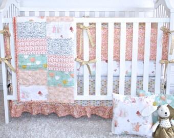 Littlest crib bedding in peach, bunnies, dandelions, peach, coral, gold, mint, tulips, glitzy, girl nursery, woodland