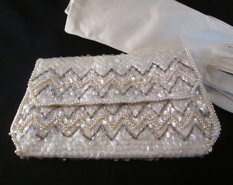 Ladies Vintage Cream American Sequins with Pearl Beads Evening Clutch Purse by La Regale.