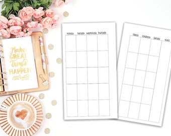 1 Month 2 pages horizontal - Printable Planer Insert Filofax Personal - MO2P - Planner Refill - Kikki K Medium - print at home - undated