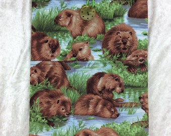 Beaver Large Tablet Case fabric cover pouch handmade in England