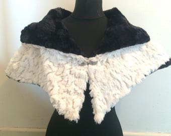 Hooded Capelet white sequinned soft faux fur and black luxury faux fur/ viking cape/Wedding dress/ bridesmaid gift/ fantasy cape/ viking