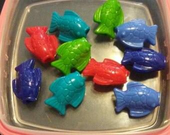 Animal Beads - Fish Beads - Kandi Beads - Craft Supplies - Jewelry Making - Plastic Beads - 10 Pieces